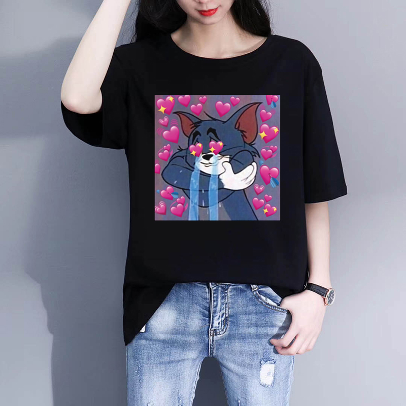 Heart Meme Printed Tshirt Women 90S Harajuku \Tee Top Hipster Tumblr Female T Shirt Women Clothes Camisas Mujer