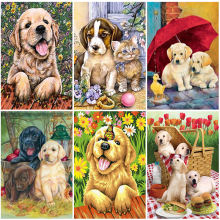 Diy dog 5d diamond painting full round drill rhinestone animal