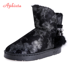 Aphixta Metal Zippers Real Fur Fringe Winter Snow Boots Ladies Plush Shoes Women Warm Snow Boots Women Shoes Woman Ankle Booties women winter walking boots ladies snow boots waterproof anti skid skiing shoes women snow shoes outdoor trekking boots for 40c