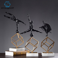 Strongwell Nordic Gymnastics Character Statue Marbled Plating Metal Resin Sculpture Modern Art Home Decoration Accessories