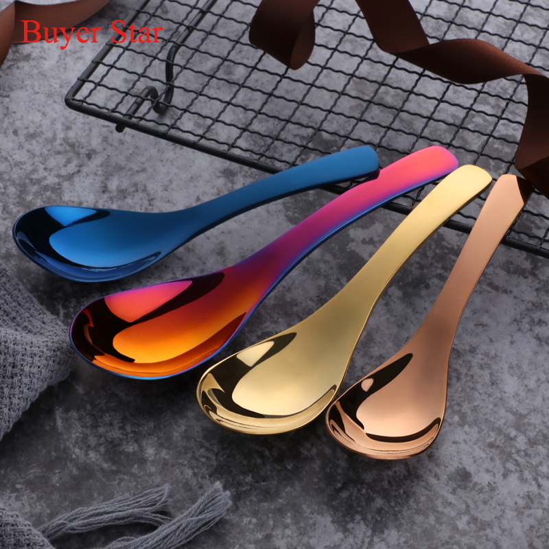 3PCS/Set 304 Stainless Steel Spoon Colorful 3 Sizes Large Rice Soup Spoon Kids Ice Cream Dessert Spoon Kitchen Dinner Tableware
