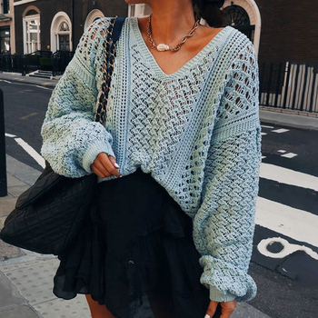 2020 New Women Autumn Clothing Thin Knit Sweater Loose Fit Female Pullover V-Neck Hollow Knitted Long SLeeve Lady Spring Top D30 spring summer loose women pullover sweater hollow out sexy lace knitted plaid top long sleeve thin female pullover and sweater