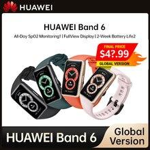 Huawei banda 6 original inteligente pulseira exibição completa spo2 bt 5.0 smartband vida de monitoramento oxigênio freqüência cardíaca sono monitorin