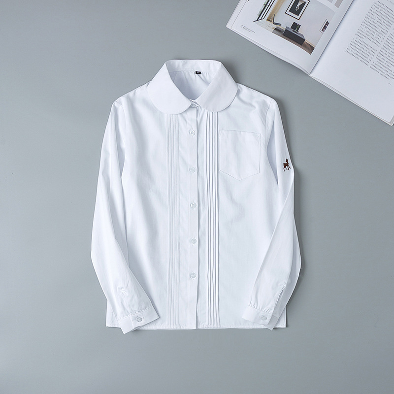 Hot Korean School Uniform Girls Long Sleeve Shirt For Women Japanese School Uniform Cotton White Shirt Embroidery Fawn Pattern