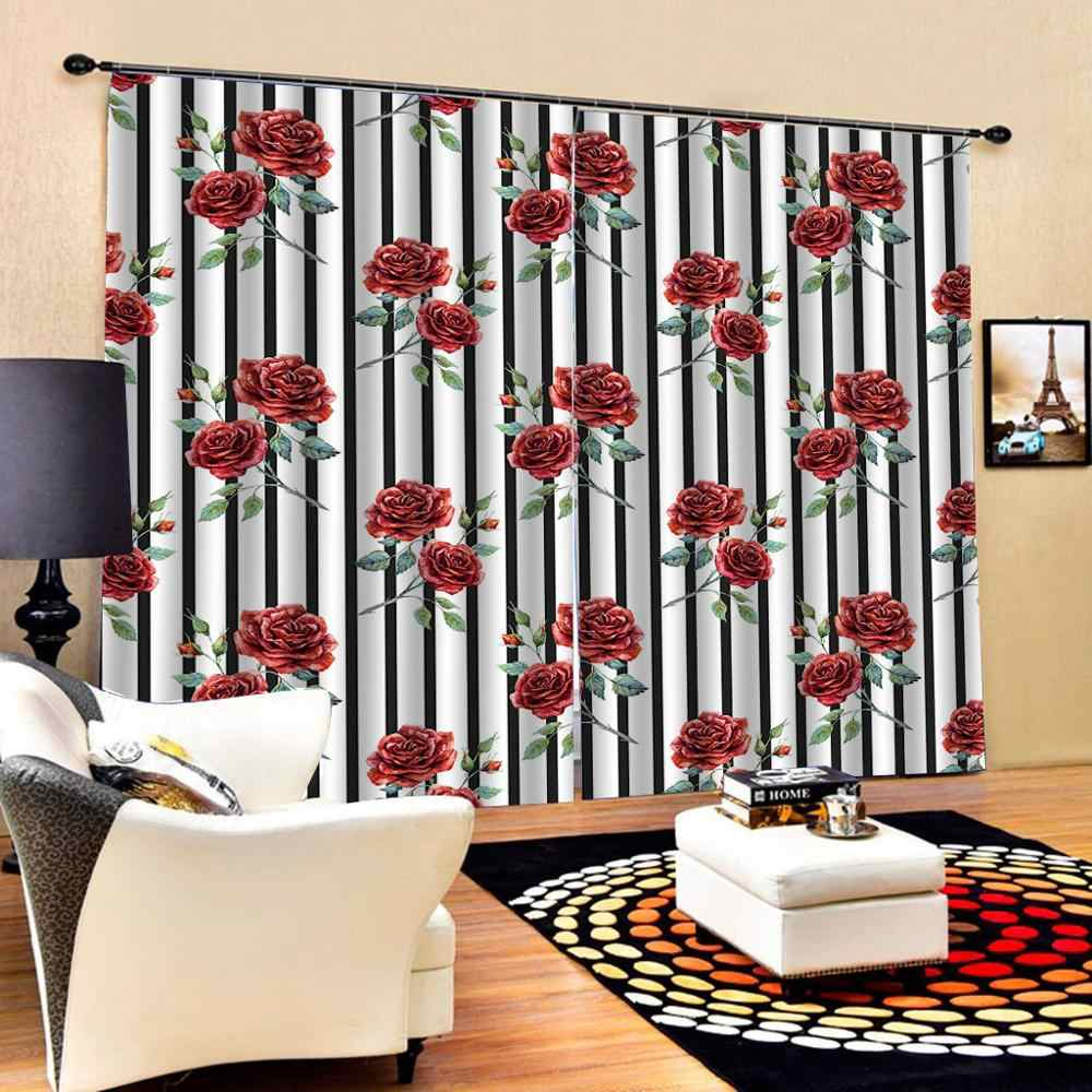 Red Curtains Flower Curtain Bedroom 3d Window Curtain Luxury Living Room Decorate Cortina Curtains Aliexpress