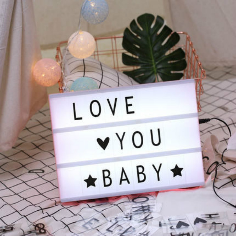 A4 Size USB AA Battery LED Combination Night Light Box DIY Letters Symbol Cards Decoration Lamp Message  Board Lightbox