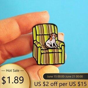 Dog Sofa Creative Pop-Enamel Pin Lapel Badges Brooch Funny Fashion Jewelry