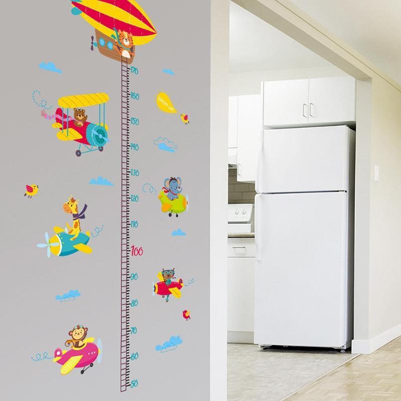 2шт животные самолет Мультфильм Высота линейка настенные наклейки для детского сада наклейки - 4