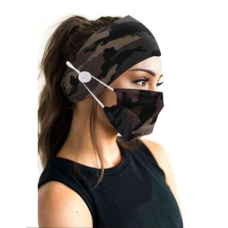 2Pcs/set button head band mask turban hair accessories soft yoga sports elastic hair band fashion hair band with mask unisex 1