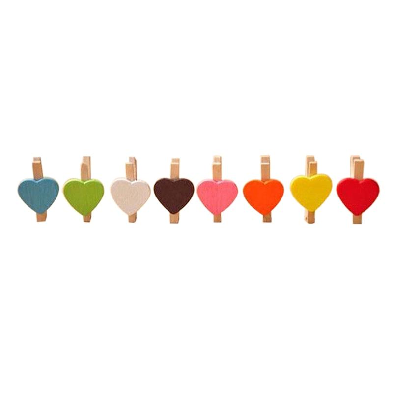 Mini Sweet Love Heart Shape Wooden Clips Message Photo Holder Card Paper Pegs Decor Photography Random Color(20 Pcs)