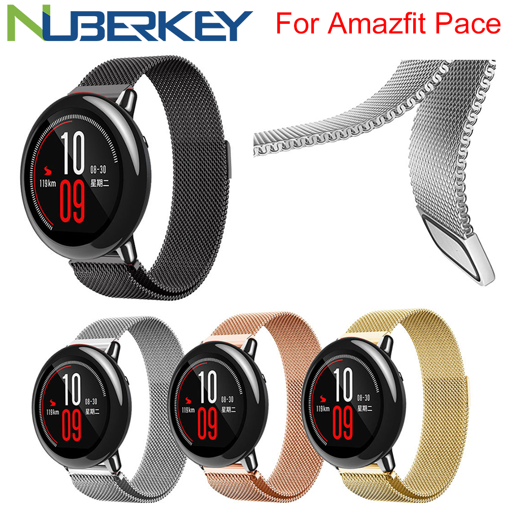 22mm Metal Stainless Strap For Xiaomi Huami Amazfit Pace Bracelet Watch Band Milanese Loop Magnetic Straps For Amazfit Stratos 2