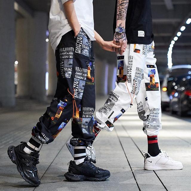 2019 New High Street Fashionable Printed Men's Jogger Trouser Hip Hop Homens Casual Bermuda Harem Pants Sweatpants Streetwear 2