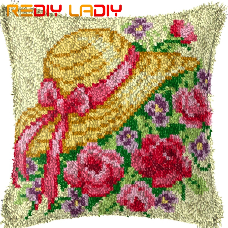 Latch Hook Kit Cushion Cover DIY Craft Needlework Crocheting Cushion Embroidery
