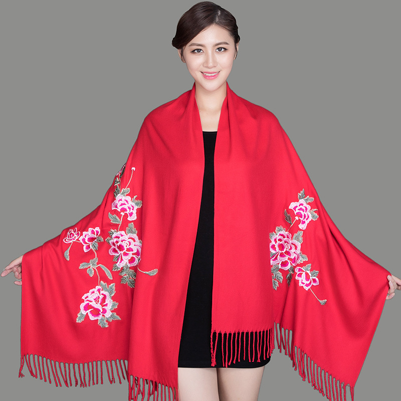 Dual-Use Thickening Warmth Big Peony Cloak Embroidery Flower Scarf Female Winter Imitation Cashmere Embroidery Shawl Шарф