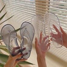 Для женщин прозрачный флип флоп гель с толстой подошвой; Простая