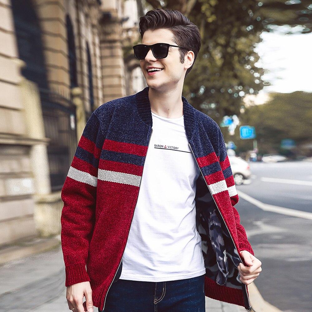Men Winter Fashion Striped Pocket Knit Outwear Coat New Autumn Winter Men New Casual Cardigan Sweater Jumper Sweater Men MWK007
