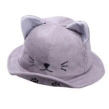 New Autumn Baby Boys Girls Toddler Cartoon Cat Ear Design Bucket Hats Caps Reversible Sun Headwear