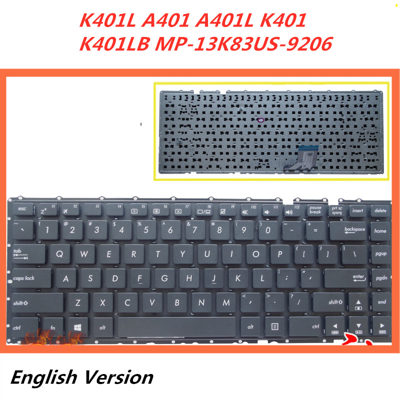 Replacement Keyboard Without Frame For Asus PU401 PU401LA PU301 PU301LA US Layout Black Color