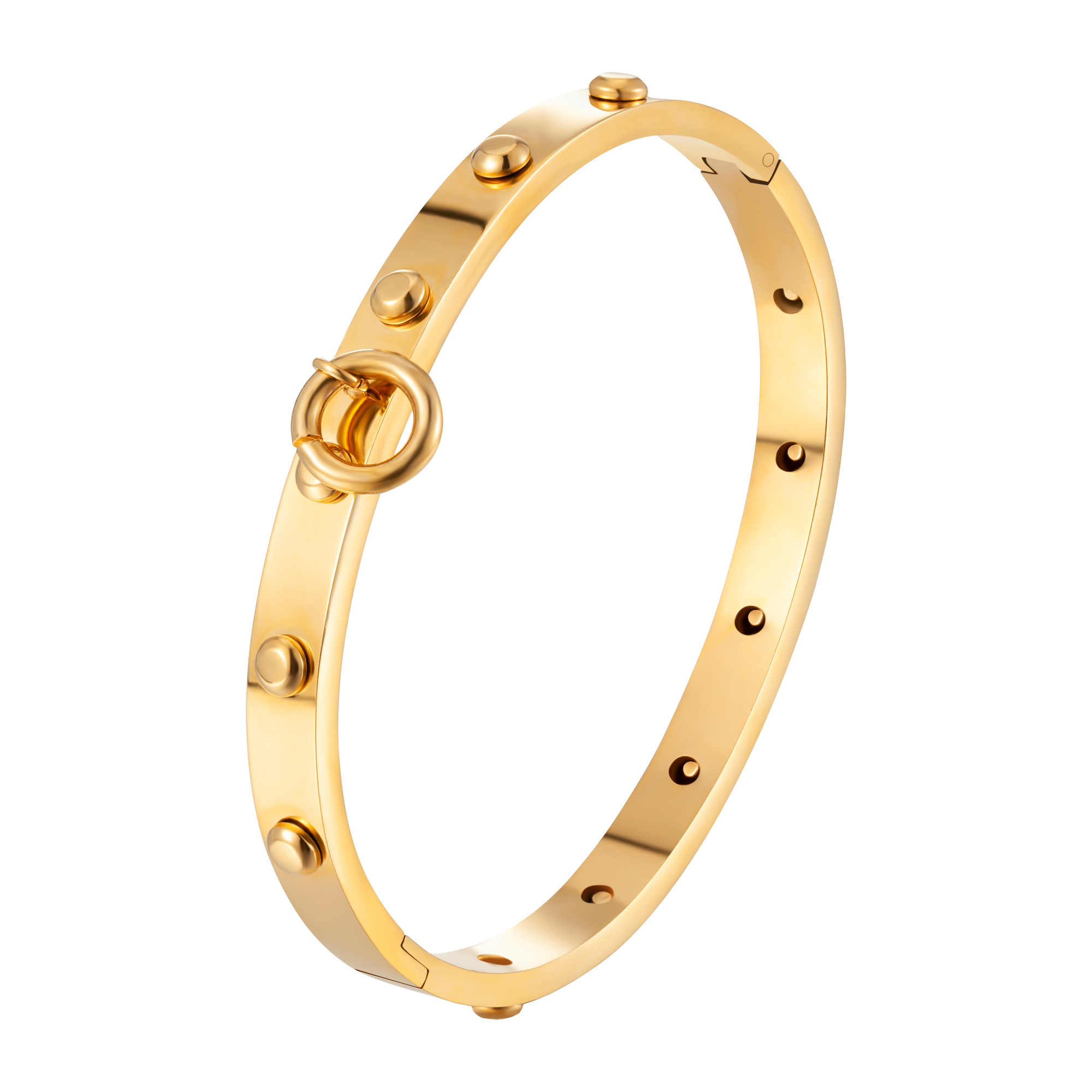 Luxury Brand Jewelry Gold Color Rivet Bangle Dangle Circle Bracelet For Women Bracelets Bangles Forever Love Jewelry Gifts