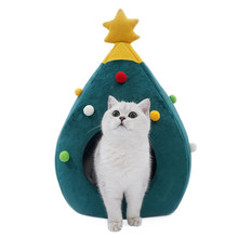 Christmas tree dog cat bed winter warm pet nest house supplies litter kennel gifts home