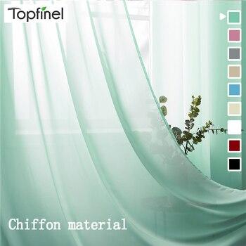 Topfinel Einfarbig Sheer Vorhänge Für Wohnzimmer Schlafzimmer Chiffon Tüll Fenster Behandlung Vorhänge Für Küche Home Dekoration