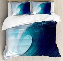 Ocean Decor Queen Size Duvet Cover Set by Ambesonne Tropical Surfing Wave on a Windy Sea Indonesia Sumatra Decorative 3 Piece(China)