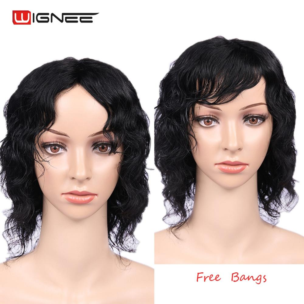 Wignee Short Curly Human Hair Wigs With Free Bangs For Black Women 150% High Density Brazilian Pixie Cut Jerry Curl Human Wigs