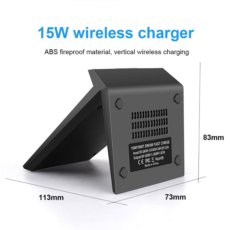 QI 15W Fast Wireless Charger for Iphone SE2 11 Pro XS Max XR X 8 Portable Wireless Charging Stand Pad for Samsung S10 S20