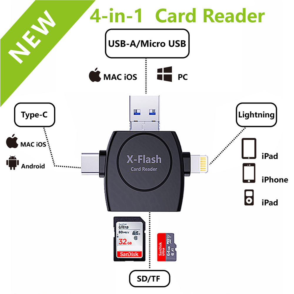 4 In 1 Card Reader Type C Micro USB Adapter Micro SD Card Reader Card For IPhone / IPad Smart OTG
