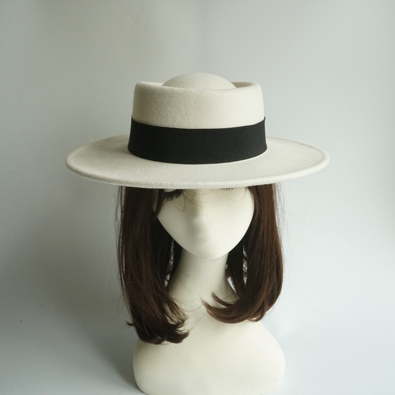 Ladies Fall Winter Wool Fedora Hat Retro White Church Hats Women Men Felt Panama Pork Pie Hat For Wedding