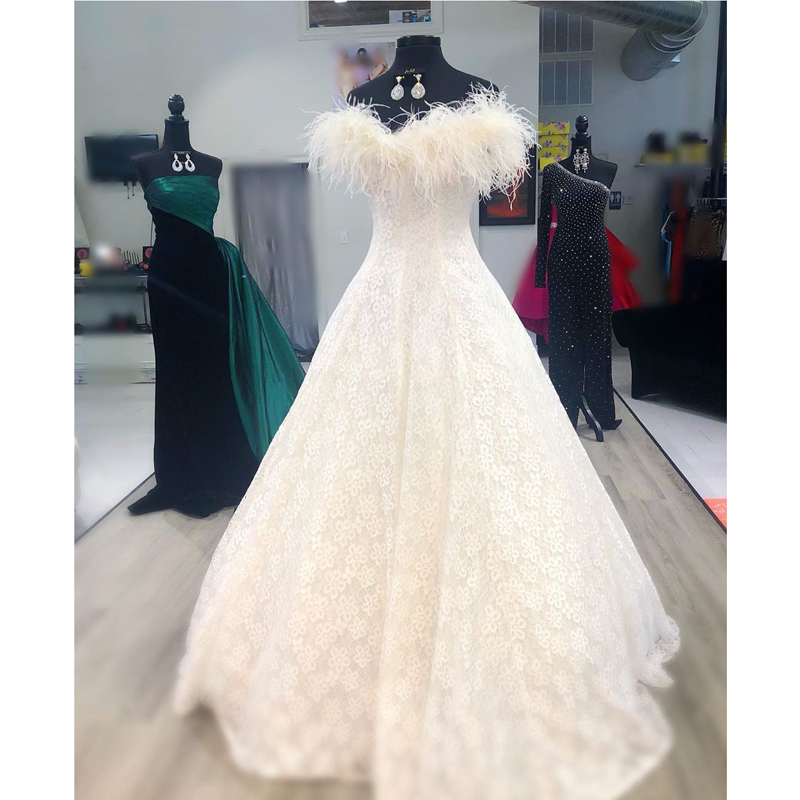 HWTX_Bridal 2020 New Lace Feather Evening Dress Custom Made Plus Size Off The Shoulder Long Ball Gown Formal Prom Dresses