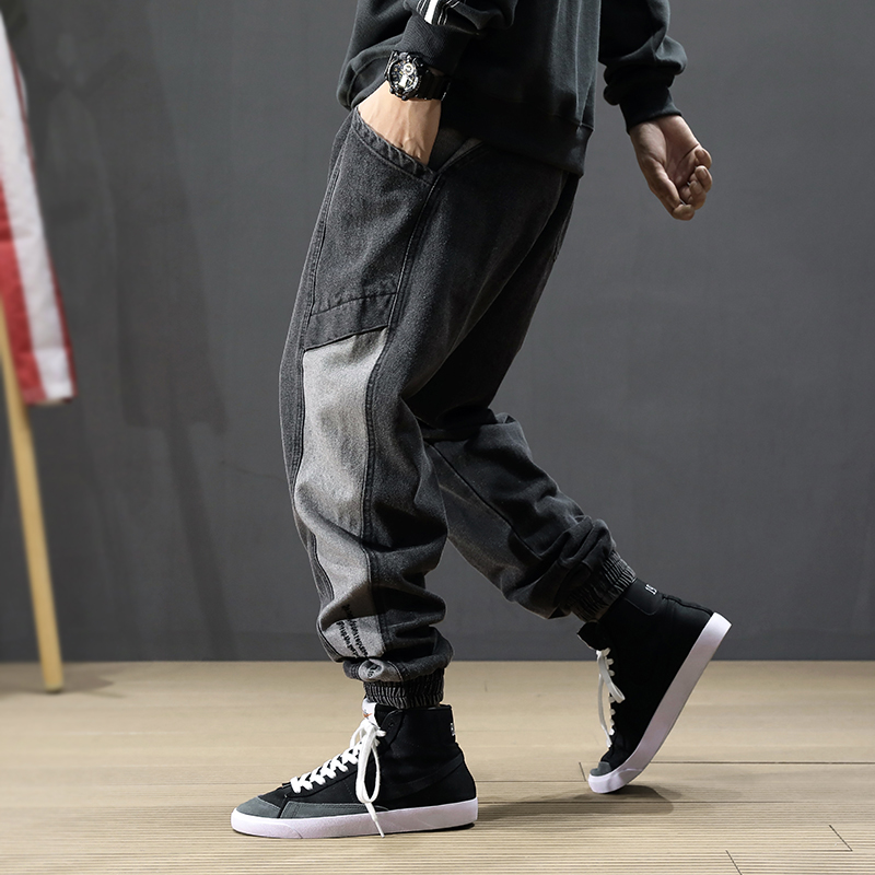 Fashion Streetwear Men Jeans Retro Black Gray Loose Fit Spliced Designer Cargo Pants Hombre Harem Jeans Hip Hop Jogger Jeans Men