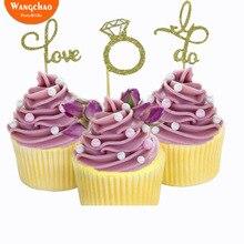 6pcs Valentine's Day Cake Topper Ring Shape Wedding & Engagement Cupcake Topper Letter Love I Do Cake Decoration for Party shape i
