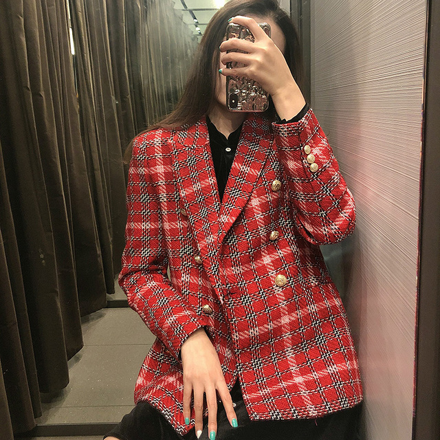 Fashion Double Breasted Plaid Blazers and Jackets Work Office Lady Autumn Women Suit Slim Business Female Blazer Coat Talever 5