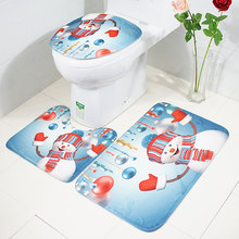 Christmas Print Carpet Mat Combination Bathroom Toilet Set 3 Pcs