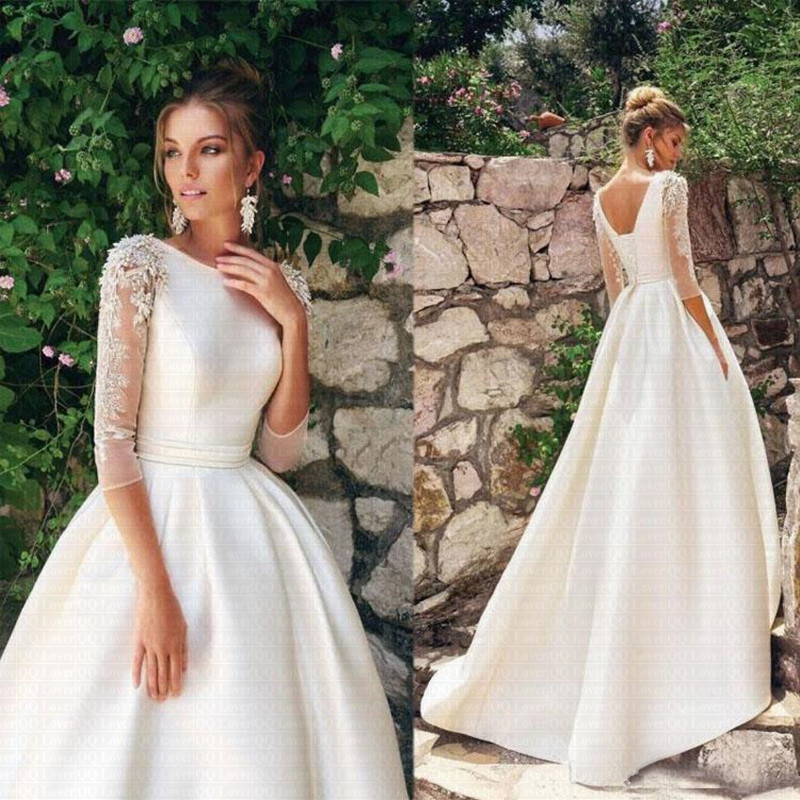 Vestido De Noiva O-neck 3/4 Sleeves Beading Applique Satin A-line Wedding Dress 2020 With Pleat Belt Sweep Train Bridal Dress