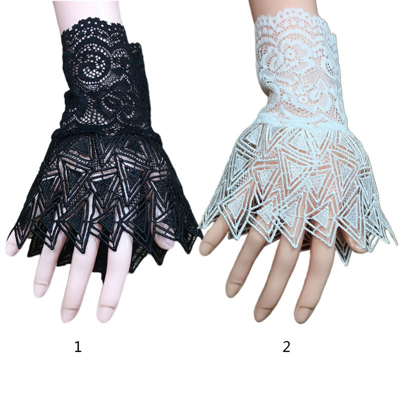 1 Pair Women Hollow Out Embroidery Lace Horn Cuff Sunscreen Fake Sleeve Gloves