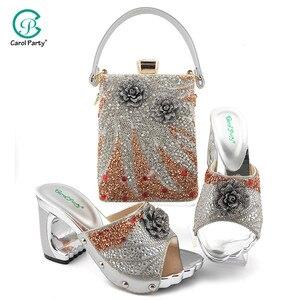 Image 2 - 2020 элегантные женские туфли и подходящая к ним Сумочка небесно голубого цвета Цвет итальянские дамские туфли лодочки с молнией дизайнерские туфли и сумка в комплекте, украшенные большим Стразы для свадьбы