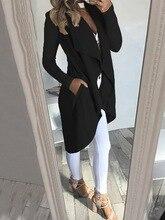 2019 Women Ladies Coat Long Sleeve Solid Waterfall Jacket Cardigan Overcoat Jumper Autumn Winter Tops Plus Size