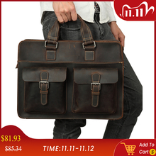 JOYIR 2020 Vintage Mens Cow Genuine Leather Briefcase Crazy Horse Leather Messenger Bag Male Laptop Bag Men Business Travel Bag