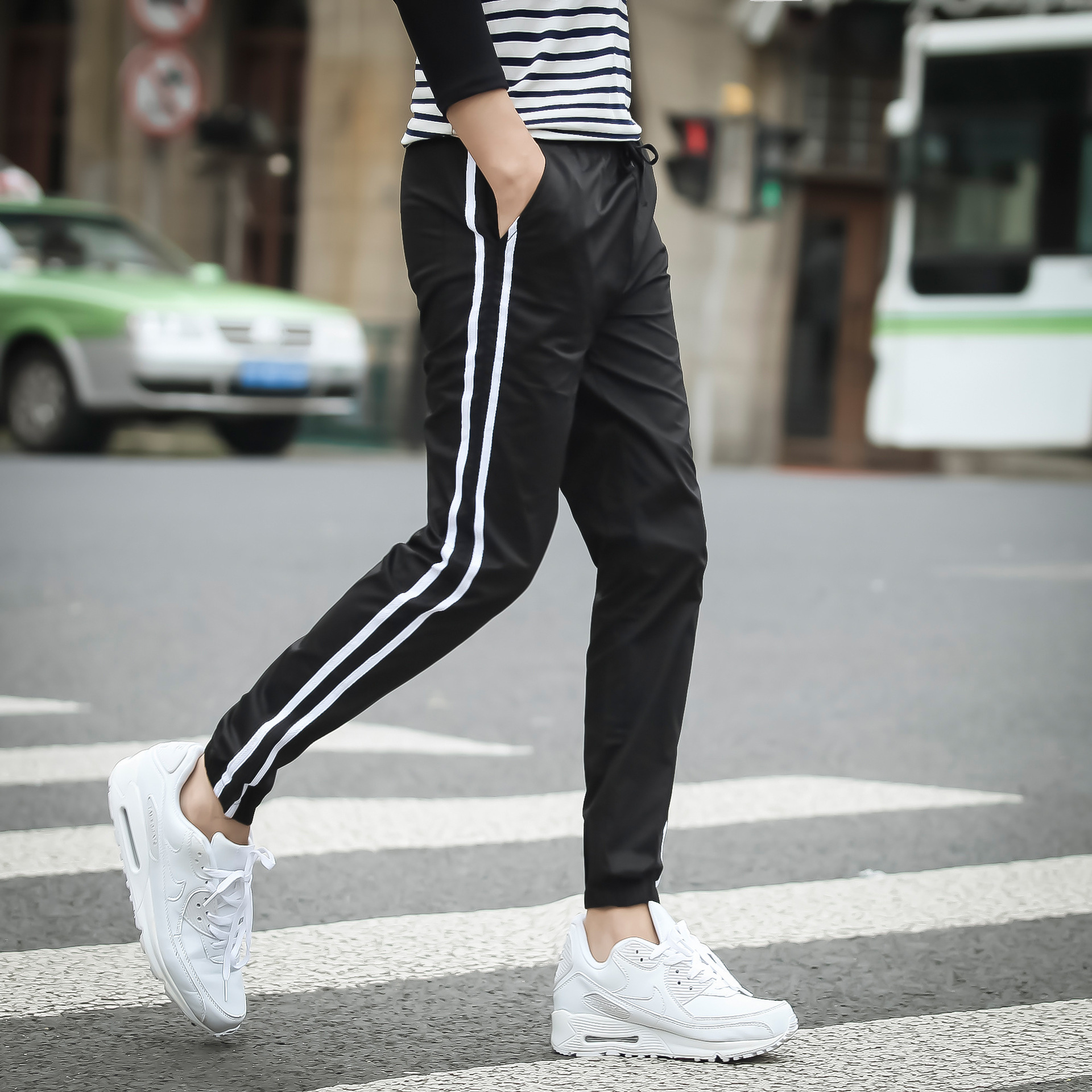New Style Men's Trousers Harem Pants Fashion Man Korean-style Slim Fit Stripes Long Pants Students Sweatpants Casual Sports Pant