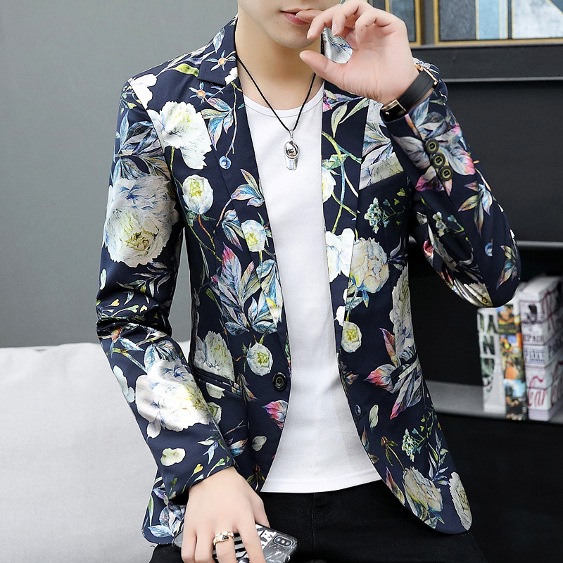 2019 Winter Floral Print Jackets Blue Flowers Printed Blazers Mens White Blazers Mens Slim Fit Casual Suits Social Mens Clothes