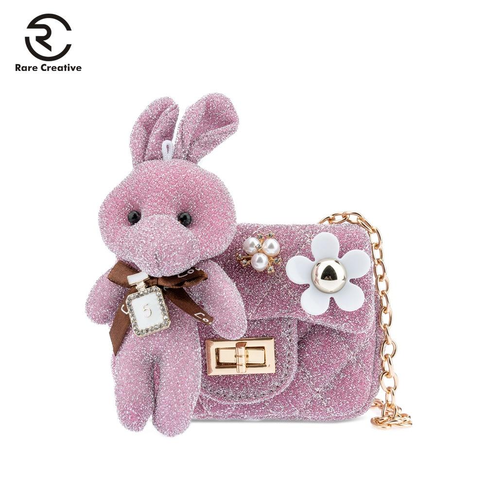 RARE CREATIVE Rabbit Small Bags For Girls 2019 Mini Cute Princess Children Shoulder Bags Simple Casual Brand Kids Purse HS8026
