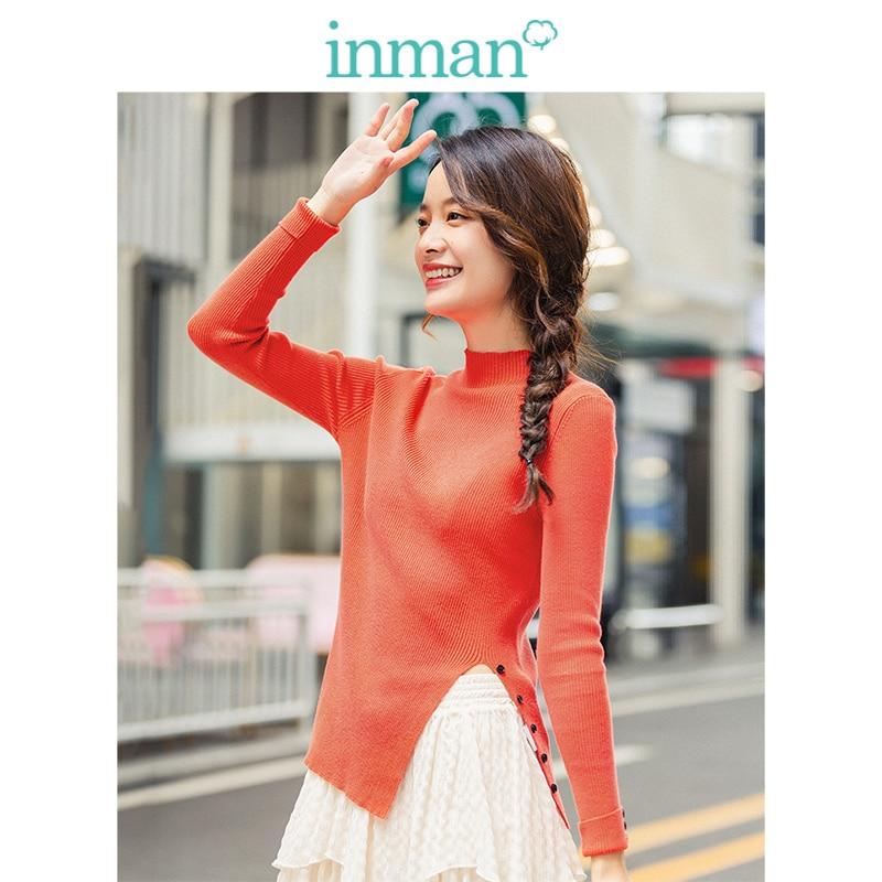 INMAN Winter New Arrival Minimalist Solid Color Split Sleeve Fitting Inside Wear Pullover Sweater