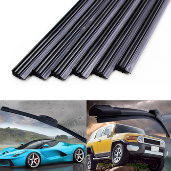 2PCs Car Vehicle Rubber Universal Soft Bracketless Frameless Windshield Wiper Blade Strip Refill Replacement 26'' 28'' 30'' 32'' image