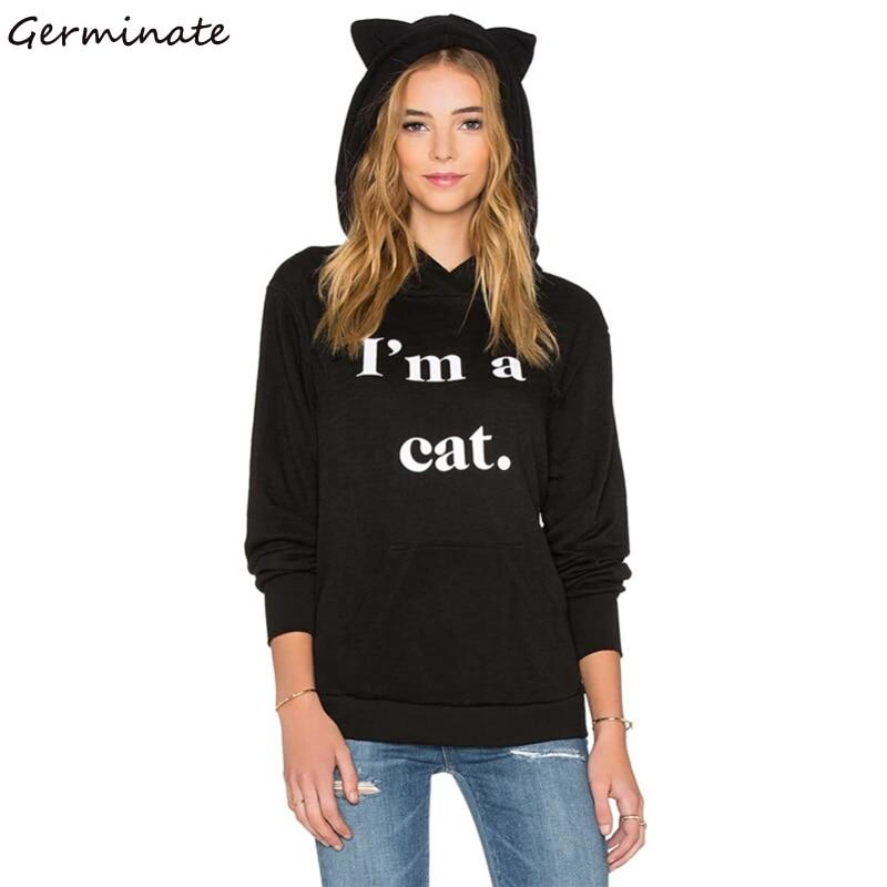 Germinate Cat Ears Hoodies Women Harajuku Blackpink Ariana Grande Bangtan Boys Exo Kpop Got7 Punk Gothic Black Oversized Hoody in Hoodies amp Sweatshirts from Women 39 s Clothing
