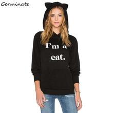 Germinate Cat Ears Hoodies Women Harajuku Blackpink Ariana Grande Bangtan Boys Exo Kpop Got7 Punk Gothic Black Oversized Hoody
