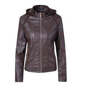 Image 3 - Blouson automne hiver similicuir 2019 de marque Plus velours pour moto, sweat à capuche pour femme