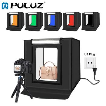 PULUZ foto caja estudio 40cm plegable portátil luz blanca foto boxeo caja de luz fotografía tienda caja Kit 3 colores fondos