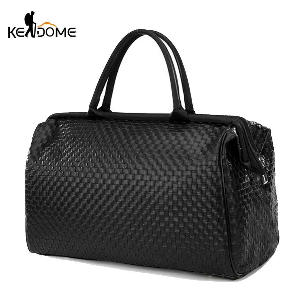 Weaved Sports Gym Bag Travel PU Leather Handbag Women Traveling Bags Lady Luggage Tas Sac De Sport Duffle Gymtas 2020 New XA286D